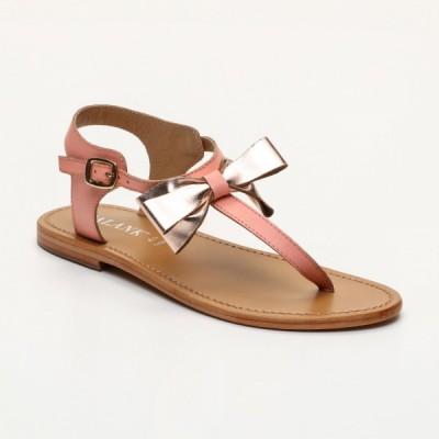 Sandales Secreta Pink  et  Rosegold Calank pour femme 100% Cuir