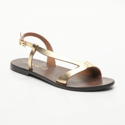 Sandales 100% cuir Eixo Noir Et Doré