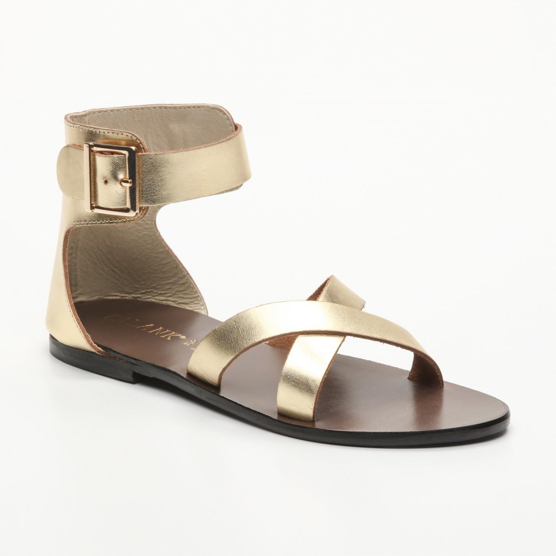 Sandales Embla Dark Gold Calank pour femme 100% Cuir