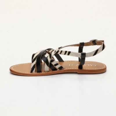 Sandales Hester Zebra  et  Black Calank pour femme 100% Cuir