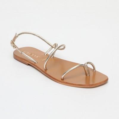 Sandales Pourhia Gold Calank pour femme 100% Cuir