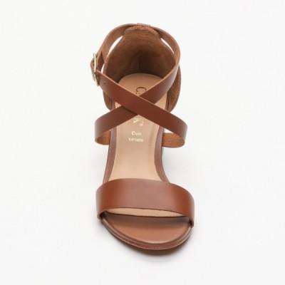 Sandales Idoa Camel Calank pour femme 100% Cuir