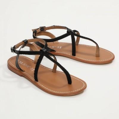 Sandales 100% cuir Phasiana Marron Clair Et Coloris Doré